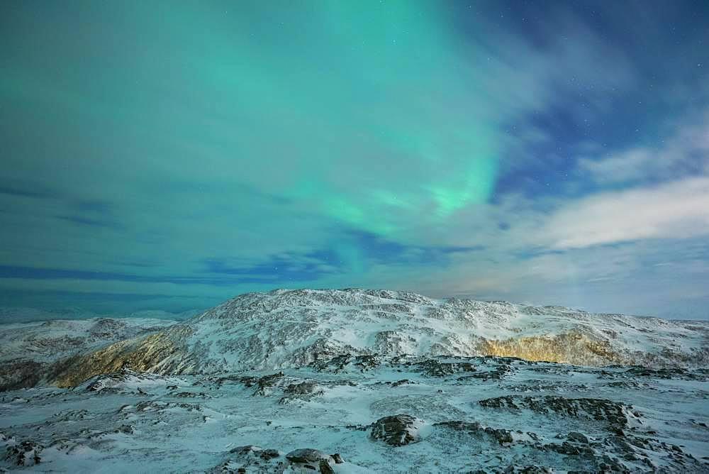 Northern Lights (aurora borealis), Mountain Landscape, Winter Landscape, Tromsoe, Norway, Europe