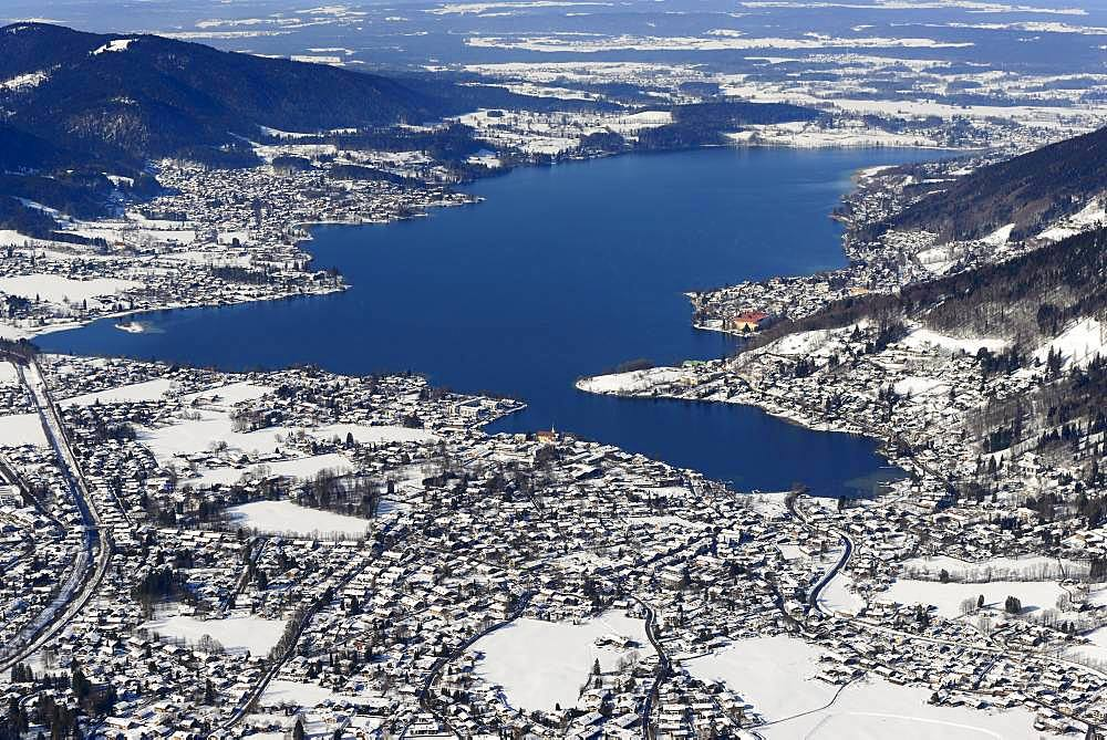 Tegernsee in winter, Rottach-Egern, Upper Bavaria, Bavaria, Germany, Europe