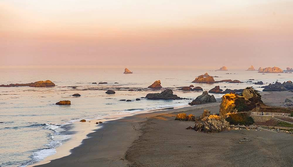 Sunrise, coastal landscape with many rocky islands, Harris Beach State Park, Oregon, USA, North America