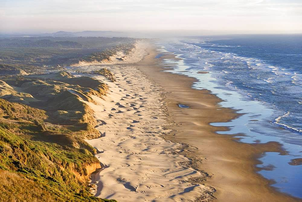 View over Baker Beach, coastal landscape with long sandy beach and dunes, Oregon Coast Highway, Oregon, USA, North America