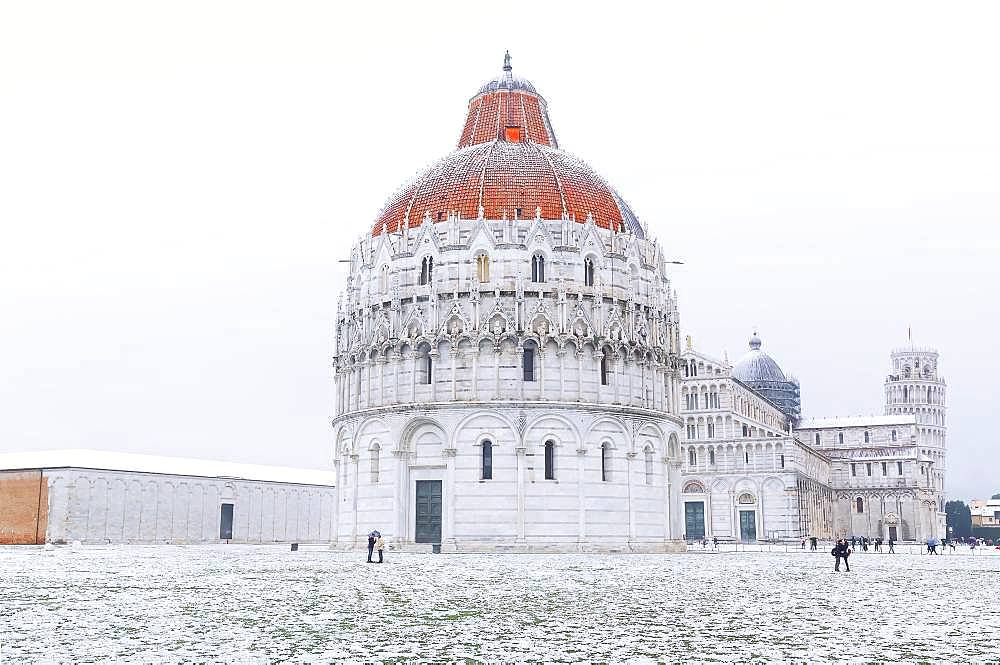 Baptistery, Cathedral and Leaning Tower with snow, Pisa, Tuscany, Italy, Europe