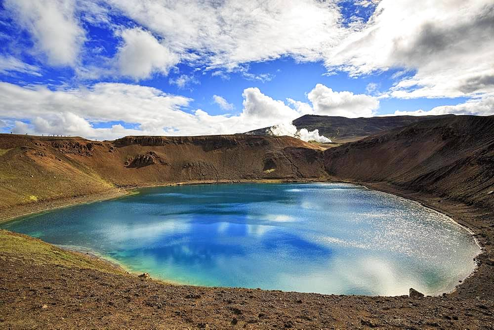 Volcanic lake, crater lake Viti at the central volcano Krafla, Myvatn, North Iceland, Iceland, Europe
