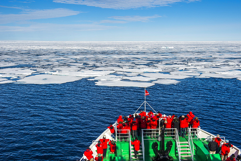 expedition ship in front of the pack ice, Arctic, Svalbard, Norway, Europe - 832-384527