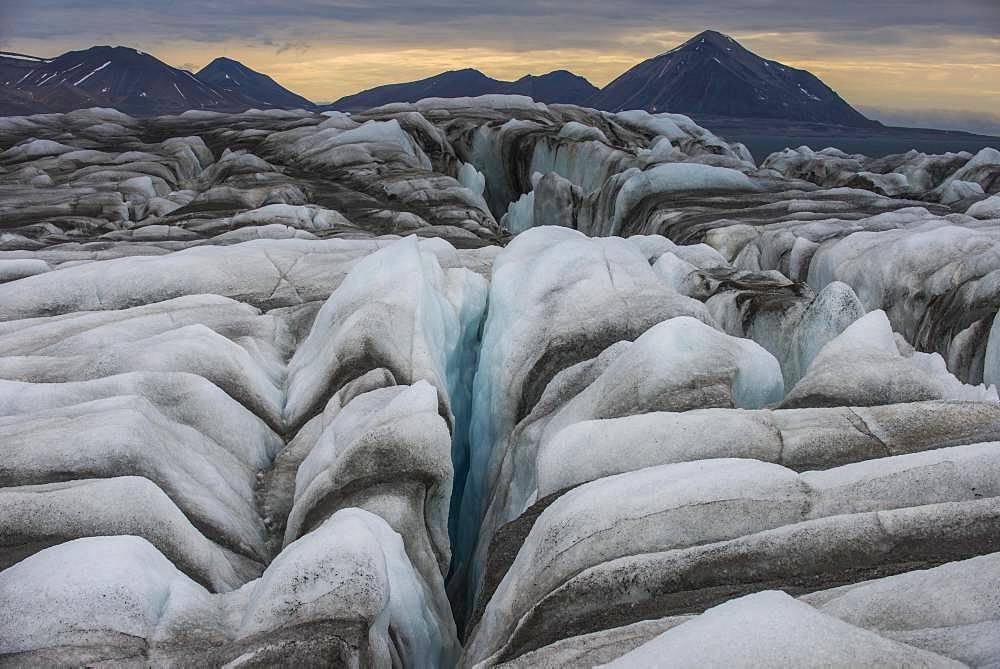 Huge glacier in Hornsund, Svalbard, Arctic, Norway, Europe