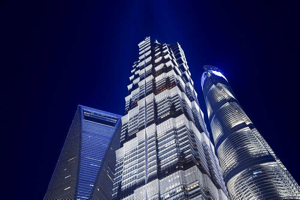 View of the Shanghai Tower, World Financial Center and the Jin Mao Building in the Pudong district, Shanghai, China, Asia - 832-384535