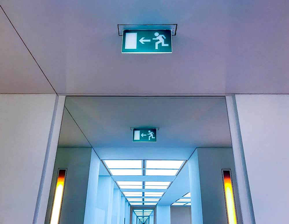 Information sign for escape route, emergency exit in a building, Germany, Europe - 832-384537