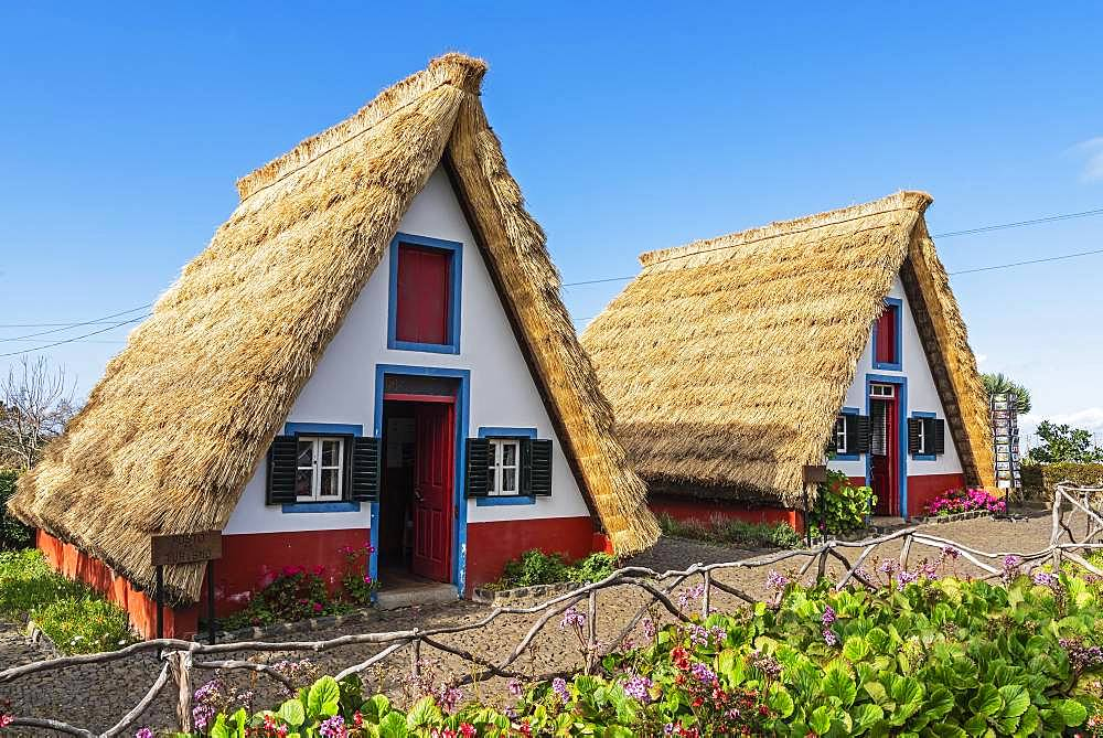 Traditional thatched houses, Santana, Madeira, Portugal, Europe