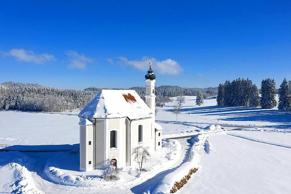 Church St. Leonhard, Leonhardikirche in Winter, near Dietramszell, drone shot, Toelzer Land, Upper Bavaria, Bavaria, Germany, Europe