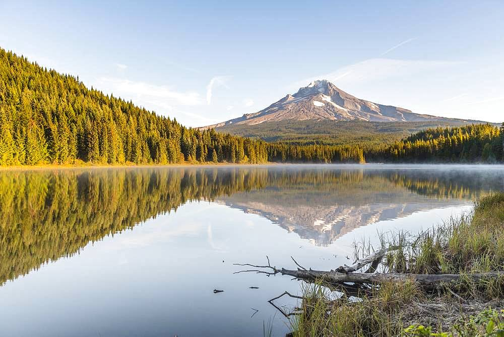 Reflection of the volcano Mt. Hood in Lake Trillium Lake, morning mood, Oregon, USA, North America - 832-384600