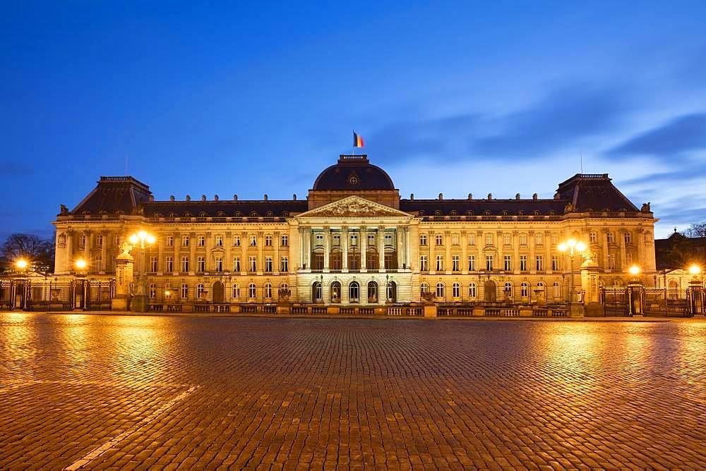 Royal Palace, Dusk, Brussels, Belgium, Europe