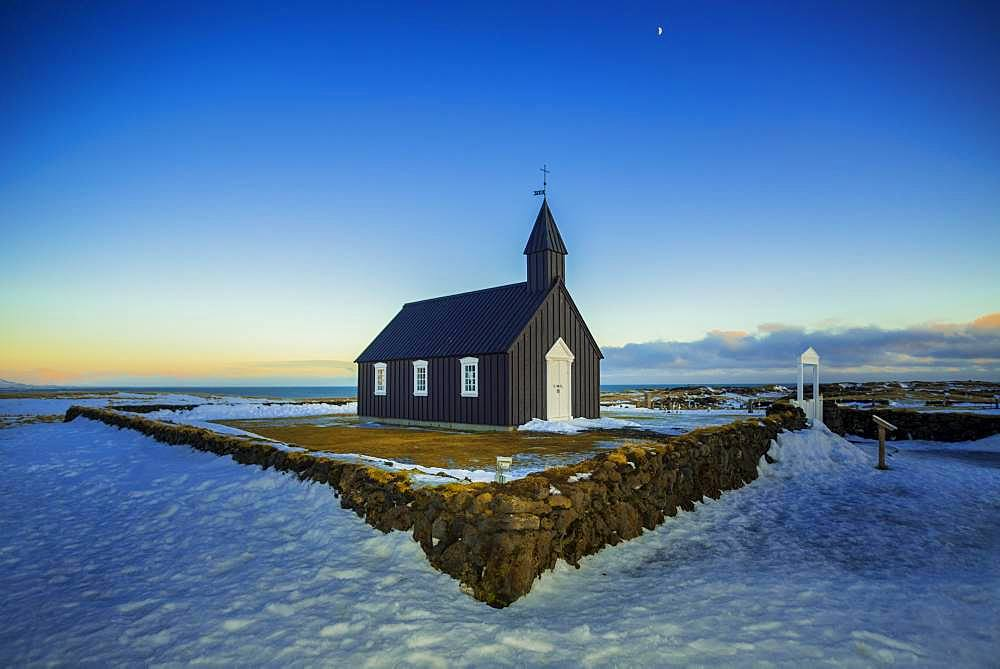 Black wooden church Buoakirkja, Budirkirka, Budir, peninsula Snaefellsnes, Vesturland, Iceland, Europe