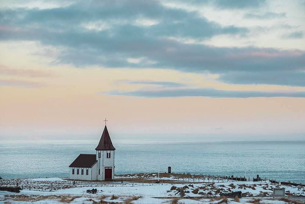 The Church of Hellnar, Snaefellsnes Peninsula, Vesturland, Iceland, Europe