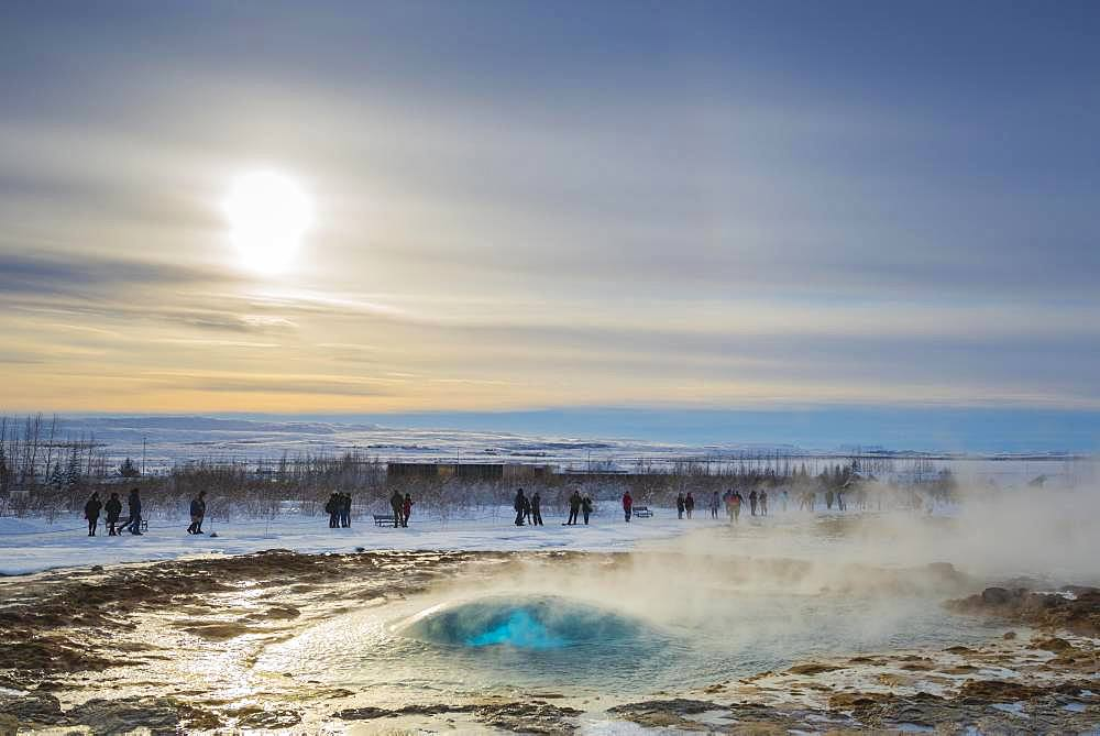 Geysir Strokkur shortly in front of an eruption, Golden Circle, South Iceland Region, Iceland, Europe