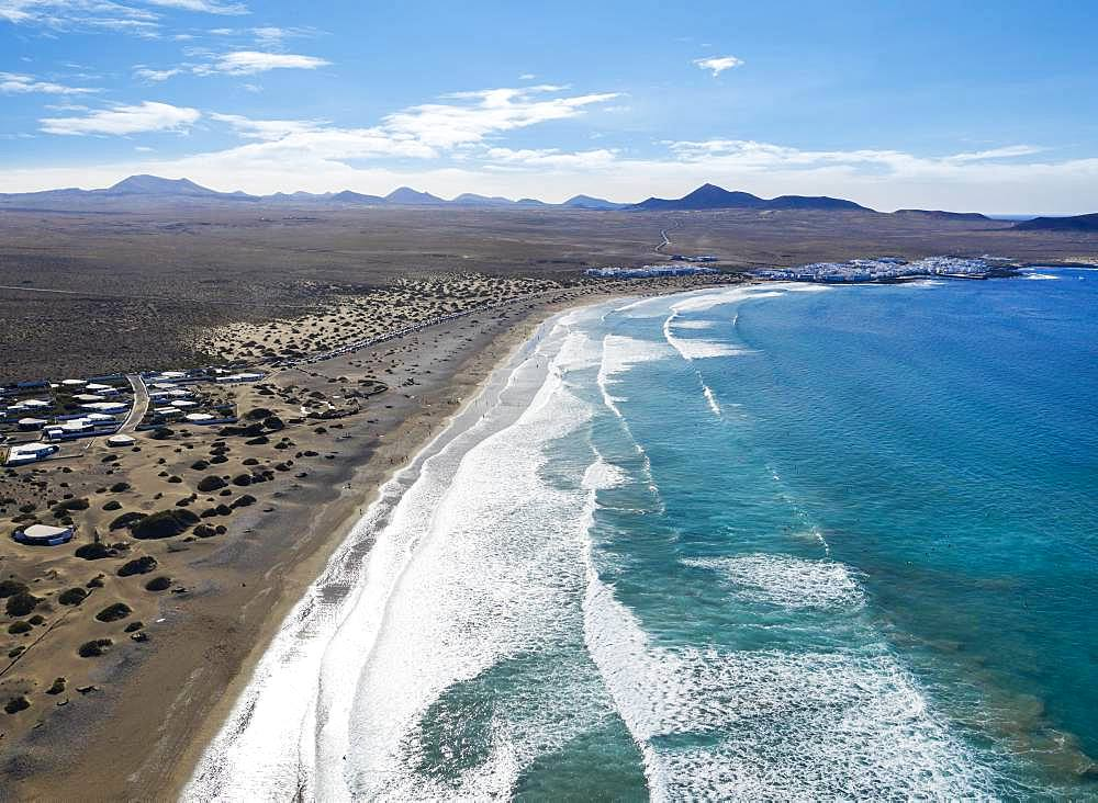 Beach Playa Famara and Caleta de Famara, drone shot, Lanzarote, Canary Islands, Spain, Europe