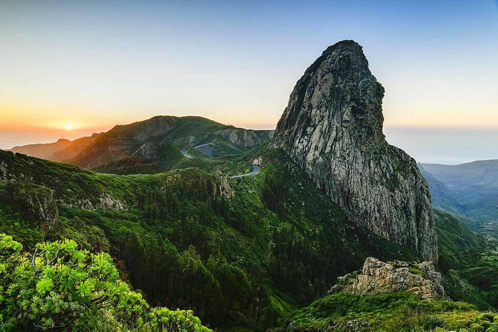 Roque de Agando rock tower at sunrise, Monumento Natural de los Roques, La Gomera, Canary Islands, Spain, Europe