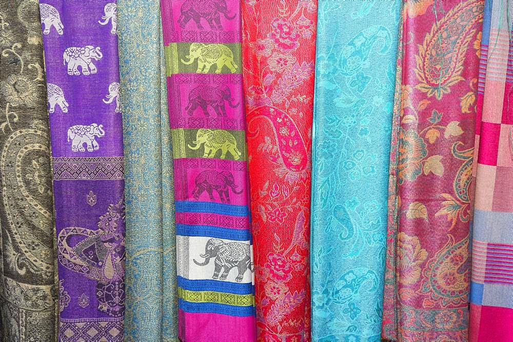 Various colorful scarves at a market, Mae Hong Son, Chiang Mai Province, Thailand, Asia