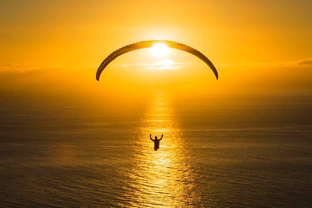 Paraglider over the Atlantic near Puerto Naos during sunset, Canary Island La Palma, Spain, Europe