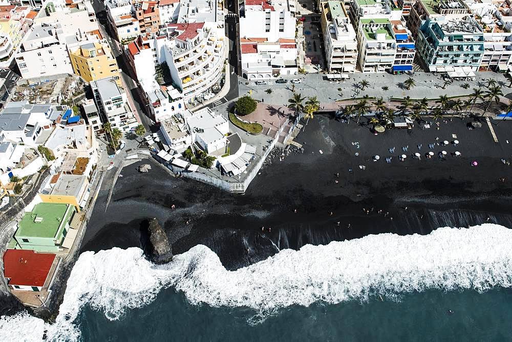 Black sandy beach, Puerto Naos beach, west coast, La Palma, Canary Island, Spain, Europe
