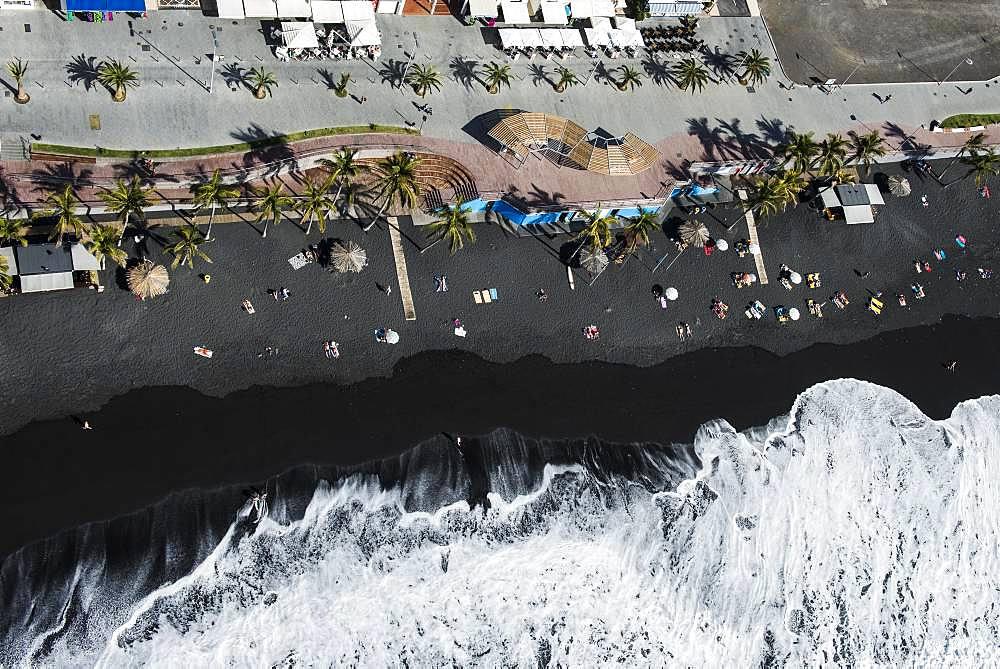 Black sandy beach with wave hem, beach of Puerto Naos, west coast, La Palma, Canary Island, Spain, Europe