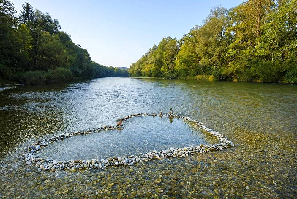 Heart-shaped piles of Isar pebbles in the shallow riverbed, Isar near Schaeftlarn, Upper Bavaria, Bavaria, Germany, Europe