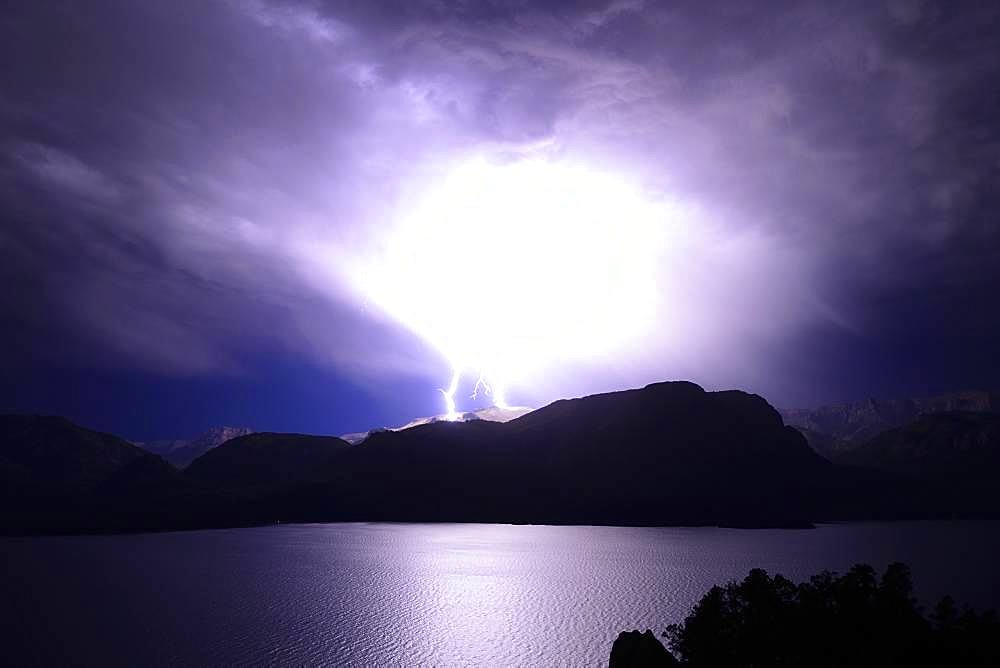 Night thunderstorm with flashes over Lake Traful, Province of Neuquen, Patagonia, Argentina, South America