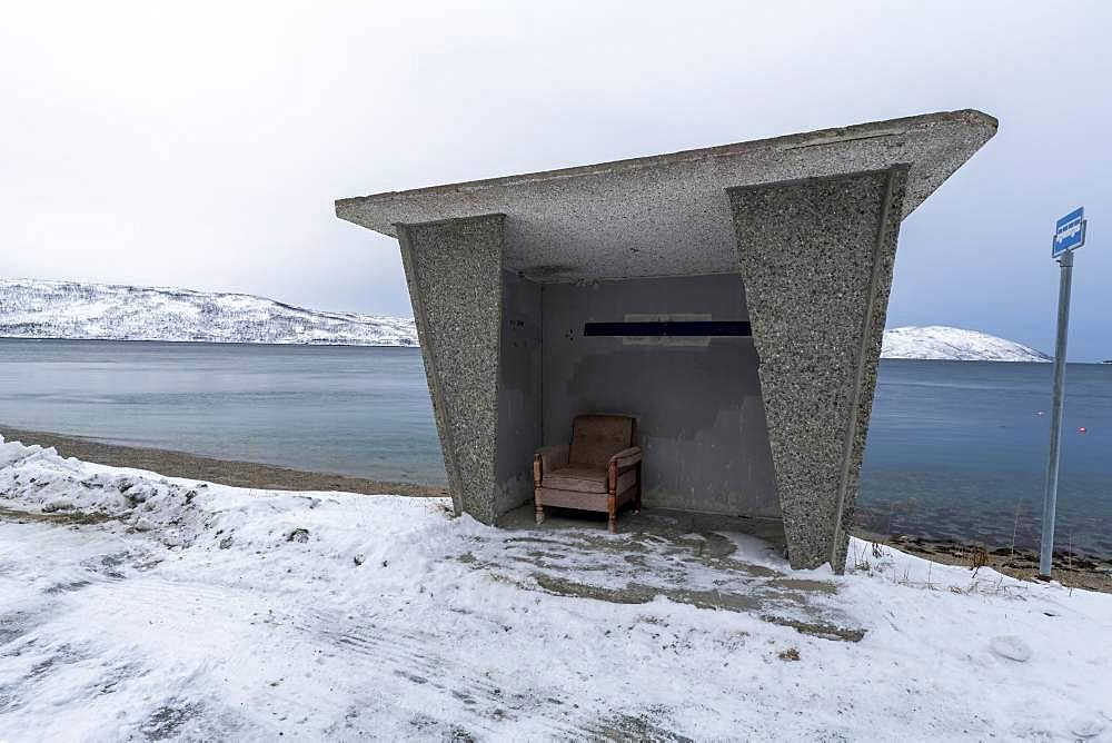 Bus stop on the island of Ringvasoya, Tromsoe, Norway, Europe