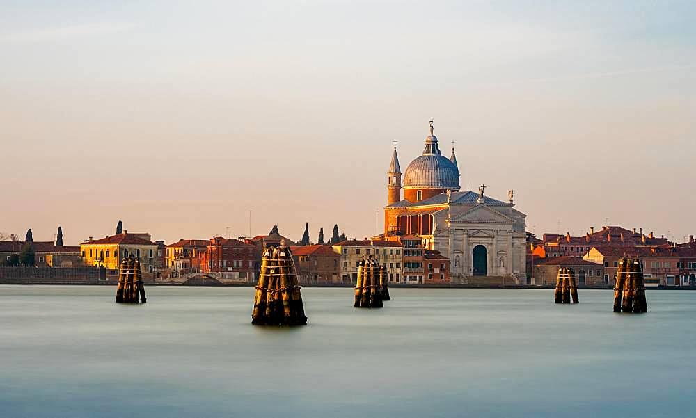 Votive church Chiesa del Santissimo Redentore on the canal, Giudecca, Venice, Veneto, Italy, Europe
