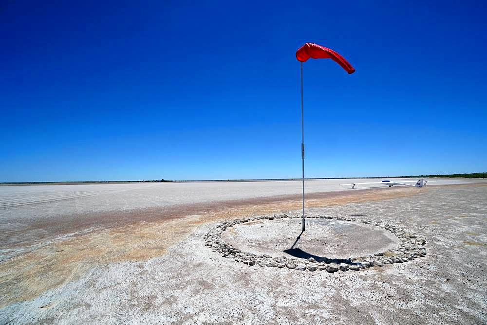 Windsock at Bitterwasser Airfield on the edge of the Kalahari, Namibia, Africa