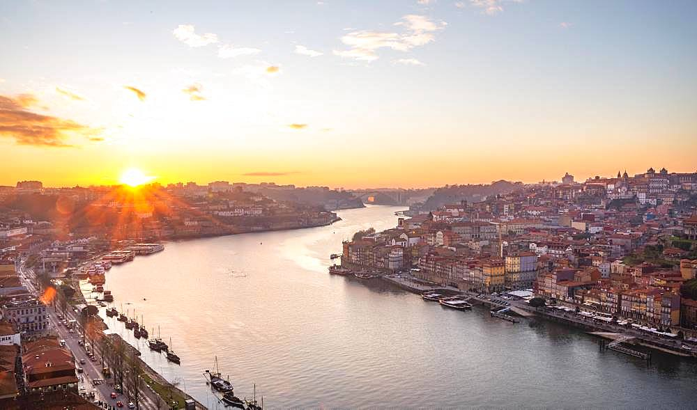 View over Porto with river Rio Douro, evening sun, sunset, Porto, Portugal, Europe