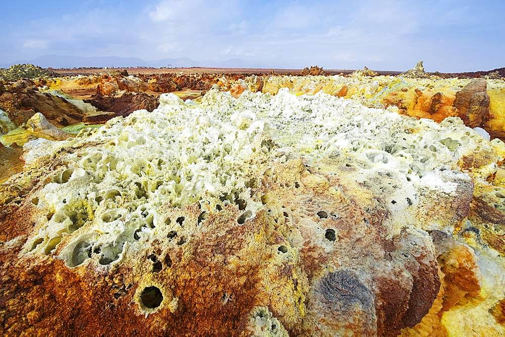 Geothermal area, salt crystals with sulphur deposits, Dallol, Danakil valley, Ethiopia, Africa