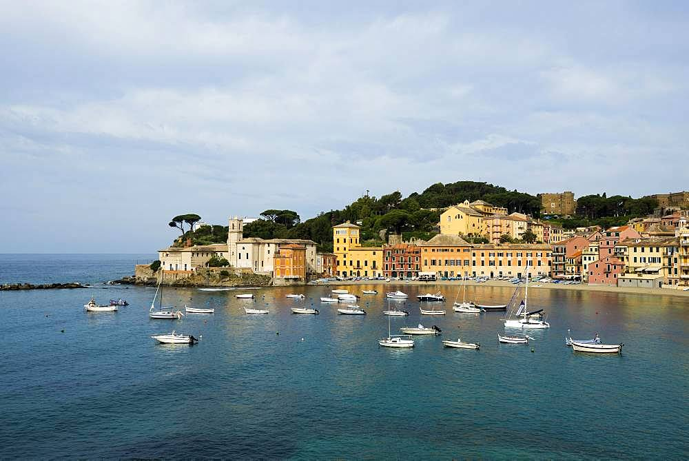 Townscape with harbour in Baia del Silenzio, Sestri Levante, Province of Genoa, Riviera di Levante, Liguria, Italy, Europe