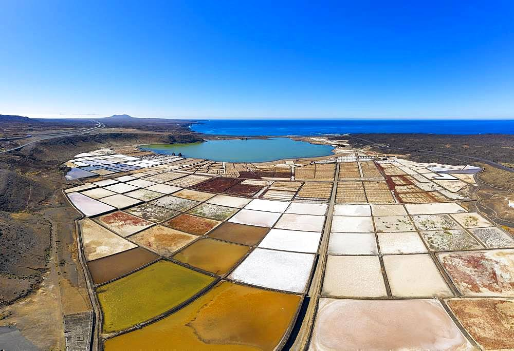 Salt extraction plant, Salinas de Janubio, near Yaiza, drone shot, Lanzarote, Canary Islands, Spain, Europe - 832-384790
