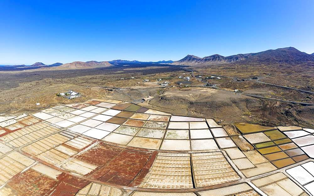Salt extraction plant, Salinas de Janubio, near Yaiza, drone shot, Lanzarote, Canary Islands, Spain, Europe