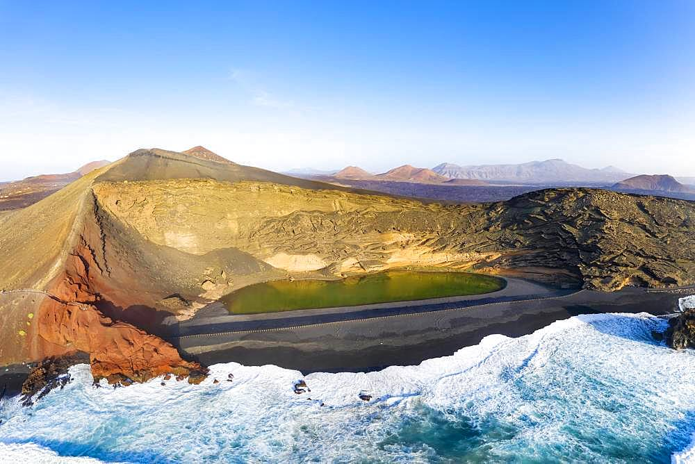 Charco de los Clicos, El Lago Verde, green lagoon, Montana del Golfo, near El Golfo, drone shot, Lanzarote, Canary Islands, Spain, Europe