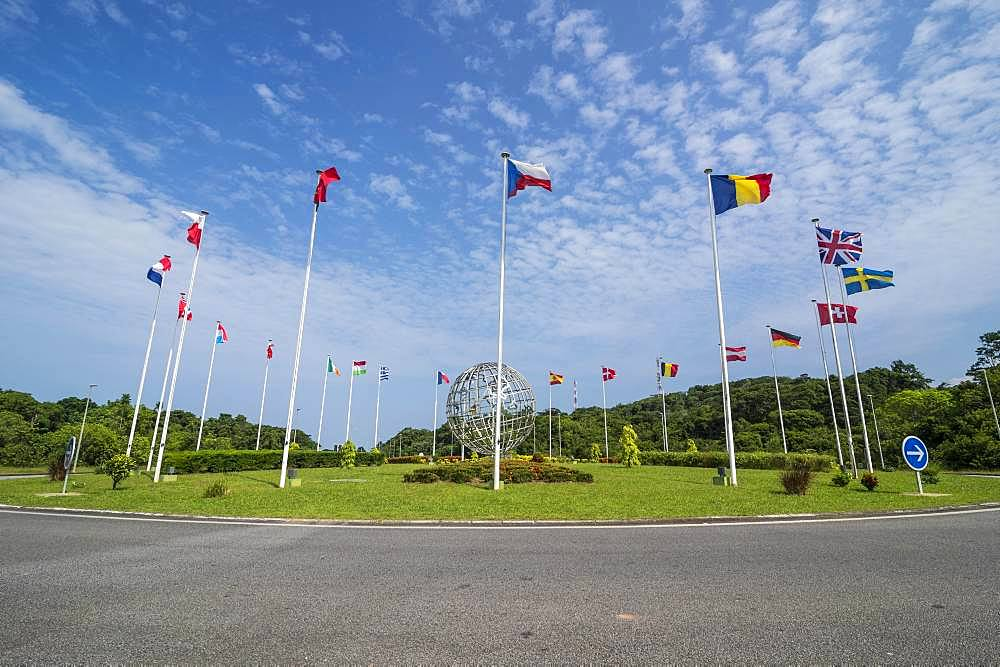 International flags, European space center, Kourou, French Guiana, South America