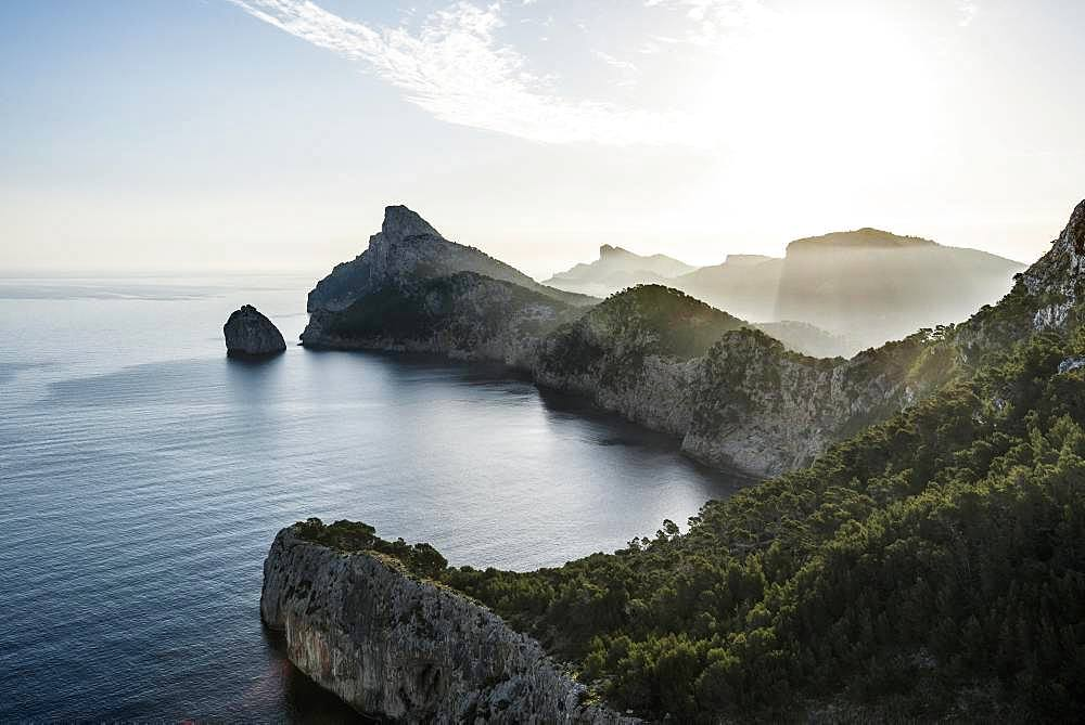 Morning atmosphere over sea with rocky coast, Cap Formentor, Port de Pollenca, Serra de Tramuntana, Majorca, Balearic Islands, Spain, Europe