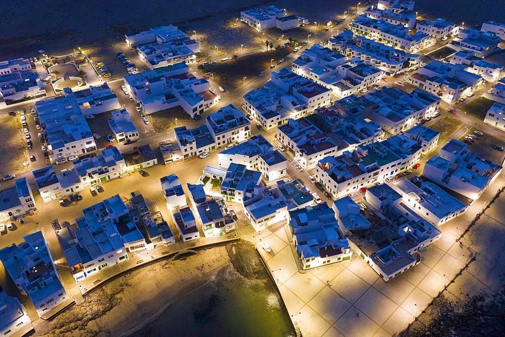 Caleta de Famara at night, drone shot, Lanzarote, Canary Islands, Spain, Europe
