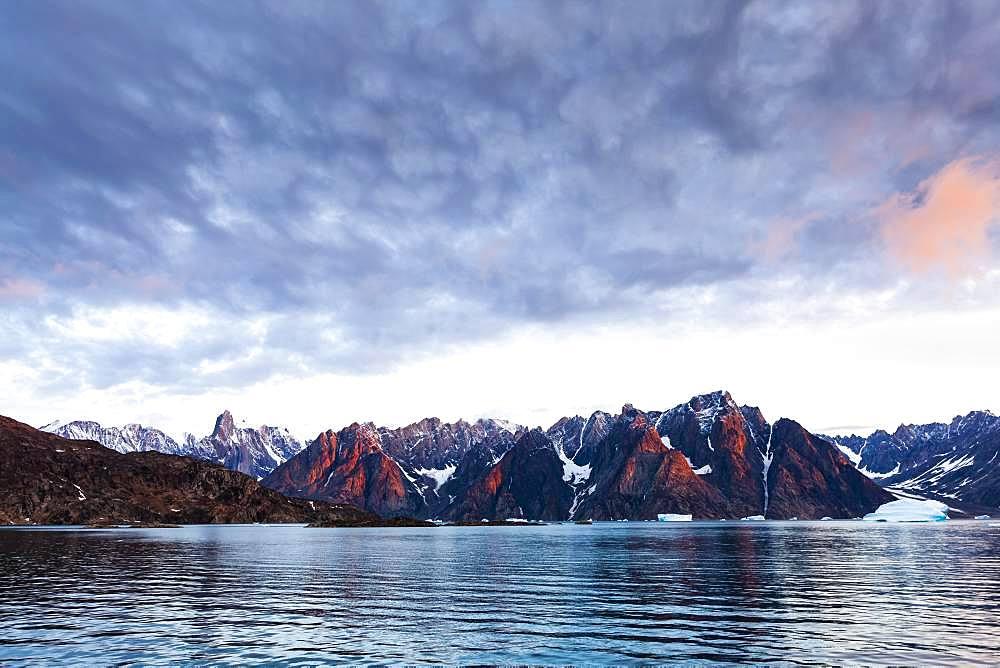 Sunrise in Harefjord, Scoresbysund, East Greenland, Greenland, North America