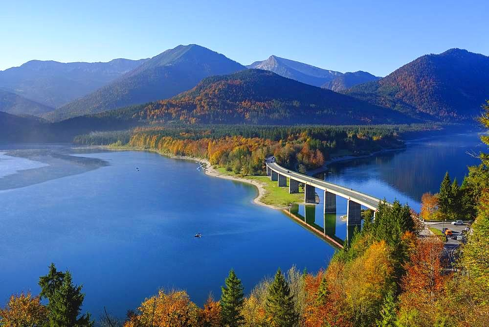 Bridge over Lake Sylvensteinsee, near Lenggries, Isarwinkel, Upper Bavaria, Bavaria, Germany, Europe