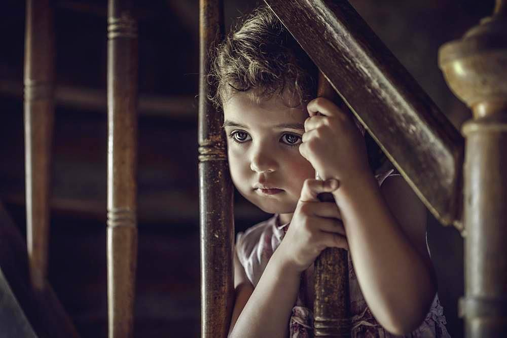 Girl, 3 years, at the stairs, thoughtful look, portrait, Germany, Europe