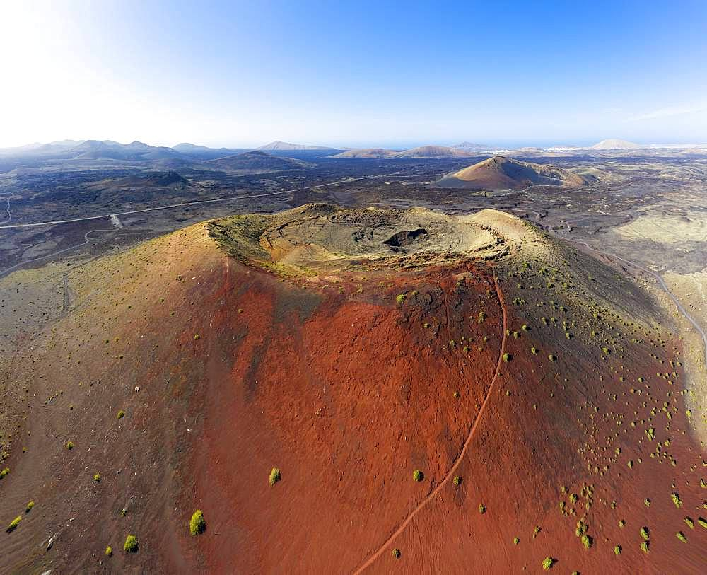 Volcano Montana Colorada with volcano crater, drone photo, Lanzarote, Canary Islands, Spain, Europe
