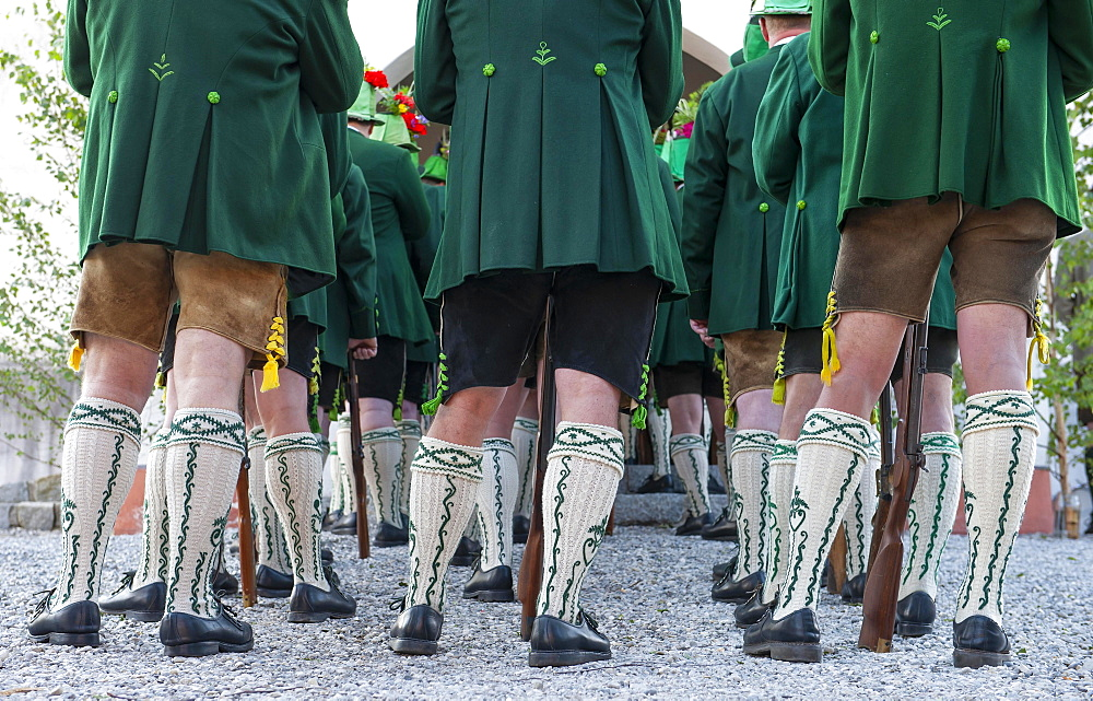 Mountain marksmen in traditional Bavarian costumes with Wadl stockings, Corpus Christi procession in Wackersberg, Isarwinkel, Toelzer Land, Upper Bavaria, Bavaria, Germany, Europe