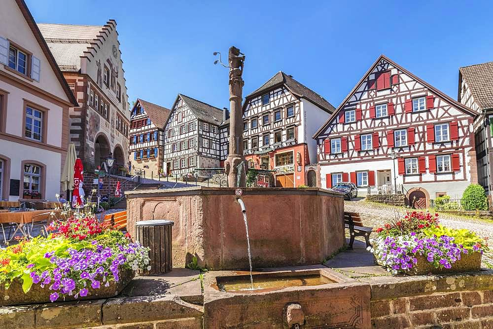 Marketplace of Schiltach, Black Forest, Kinzigtal, Baden-Wuerttemberg, Germany, Europe