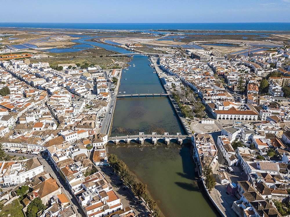 Aerial view, city view with Roman bridge, Tavira, Algarve, Portugal, Europe