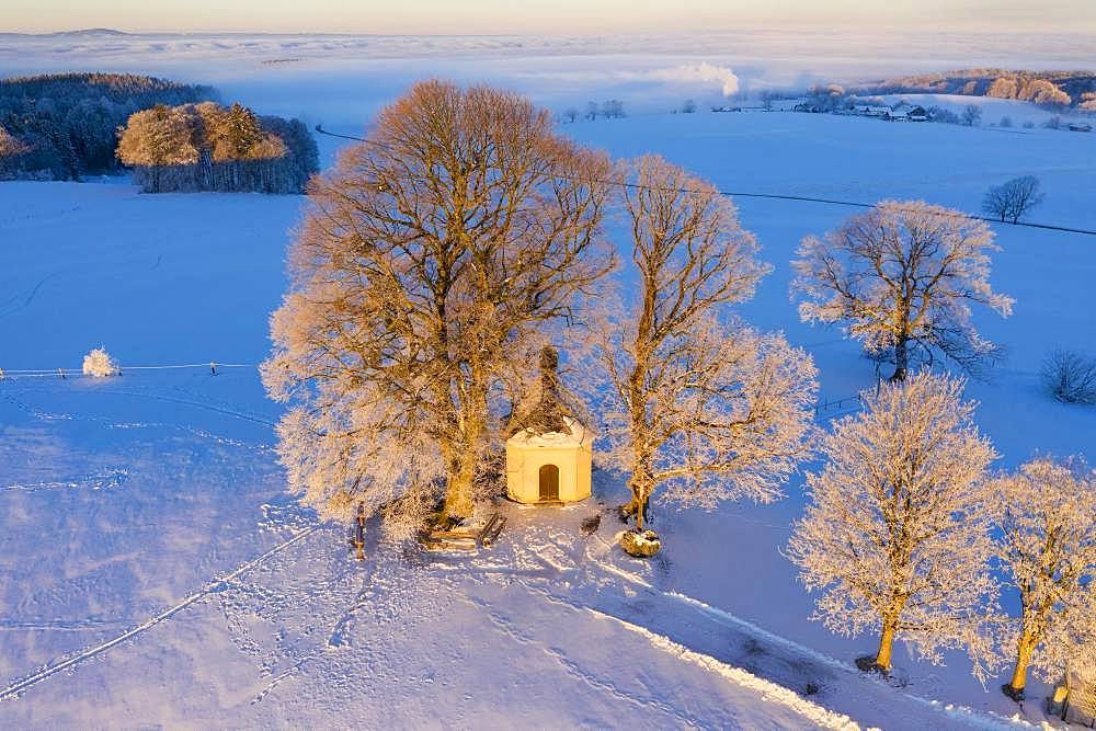 Maria-Dank-Kapelle on Fuerst-Tegernberg in the morning light in winter, Degerndorf near Muensing, drone shot, Fuenfseenland, Upper Bavaria, Bavaria, Germany, Europe