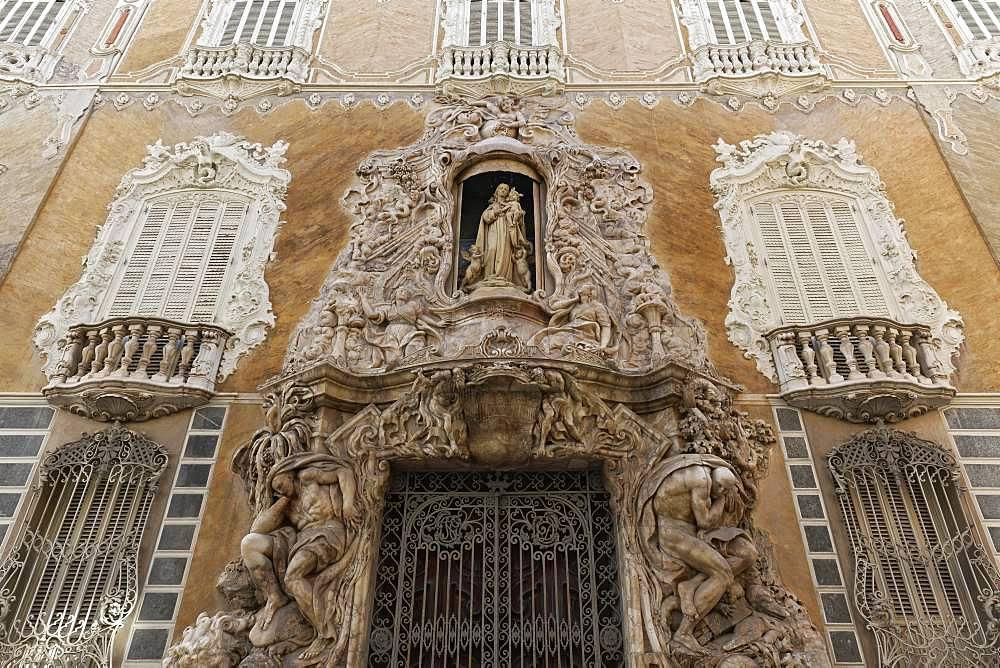 Rococo facade, historical palace Palau del Marques de Dosaiguees, Ciutat Vella, old town, Valencia, Spain, Europe