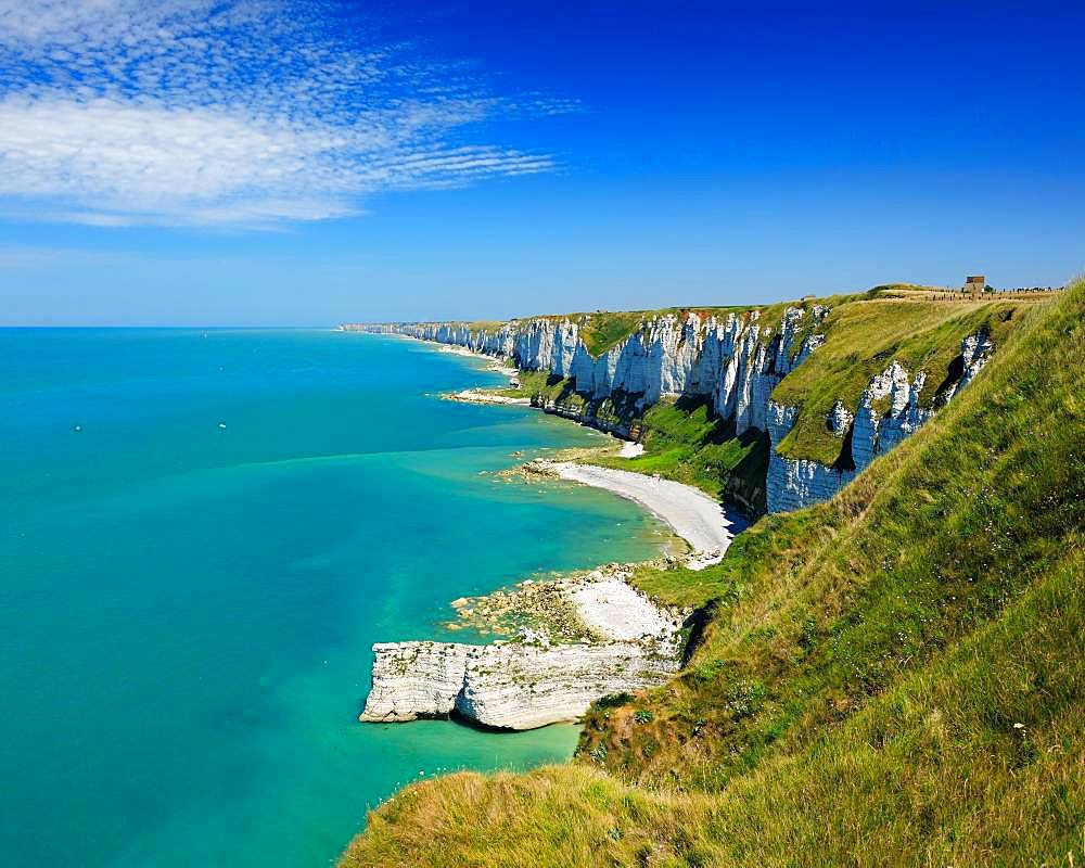 View of the chalk cliffs of the alabaster coast, La Cote d'Albatre, Cape Fagnet, Normandy, France, Europe