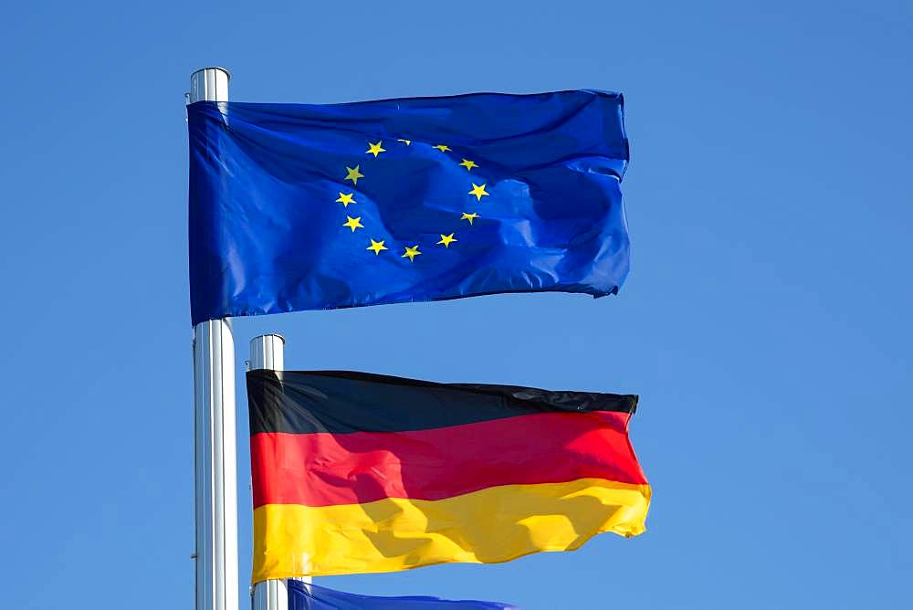 Waving European Flag and German Flag, Mecklenburg-Western Pomerania, Germany, Europe