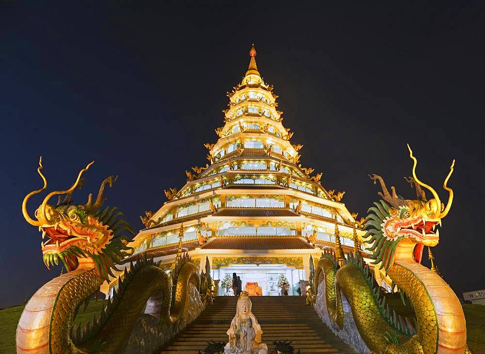 Nine-storey Chinese pagoda at dusk, dragons at the entrance to Wat Huay Pla Kang Temple, Kuan Yin, Chiang Rai, Northern Thailand, Thailand, Asia