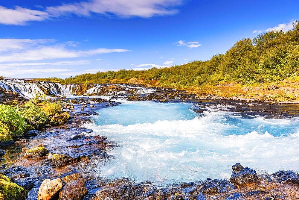 Bruarfoss Waterfall in summer, South Iceland, Iceland, Europe